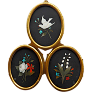SOLD Antique Pietra Dura Triple Locket Frame
