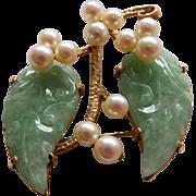 14K Ming's of Honolulu Carved Jade & Cultured Pearl Brooch/Pin