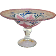 Vandermark Art Glass Pulled pattern Frosted Compote
