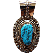 Native American Signed Sterling & Turquoise Pendant  Tom Billy Navajo