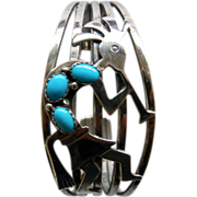 Signed N. American Kokopelli Sterling Cuff Bracelet With Turquoise