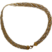 10K Yellow & White Gold Woven Necklace