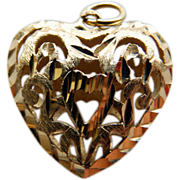 14K Yellow Gold Filigree Heart Charm/Pendant