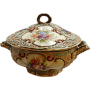 Japanese Nippon Moriage Small Covered Tureen