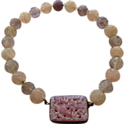 Vintage Chinese Carved Rose Quartz & Amethyst Beads Necklace/Choker Sterling Silver