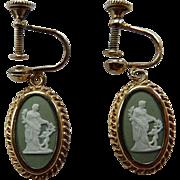 Green Wedgwood Sterling Vermeil Earrings