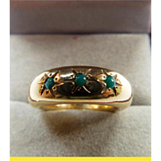 Victorian 14 Karat Yellow Gold Ring With Green Turquoise 11.2 grams