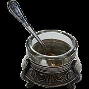 Vintage Open Salt with Glass Liner & Spoon
