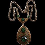Czech Green Glass & Brass Necklace