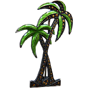 Vintage Sterling & Enamel Double Palm Tree Brooch/Pin
