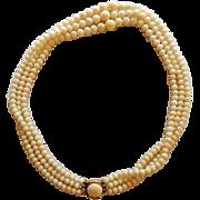 Vintage 14K & White Angel Skin Coral Three Strand Necklace