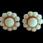 Vintage 14K White Angel Skin Coral Earrings Screw Back