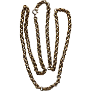 """Vintage 24"""" Belcher Chain With Textured Links Gold Filled"""