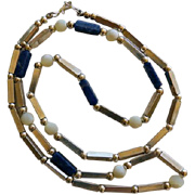 "Vintage Sterling Lapis & Agate Necklace   25"""