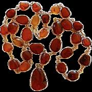 Vintage Caged Amber & Gold Filled Necklace