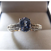 10K White Gold Synthetic Sapphire & Diamond Ring