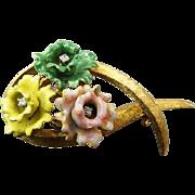 Vintage 18K Brooch With Enamel Flowers & Diamonds