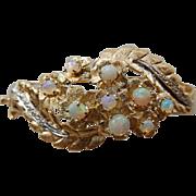 Vintage 14K YG Opal & Diamond Bangle Bracelet