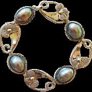 Vintage Sterling & Cultured Blister Pearl Bracelet