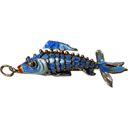 Chinese Silver & Enamel Articulated Fish Pendant