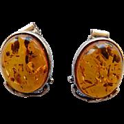 Vintage Baltic Amber & Sterling Stud Earrings