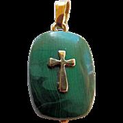 Vintage 14K YG & Malachite Cross Pendant