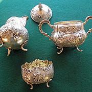 REDUCED Antique Continental Silver (800) Three Piece Creamer Sugar & Waste Bowl Set