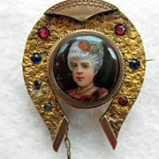 Antique Portrait Brooch In Unusual Horseshoe Shaped Frame