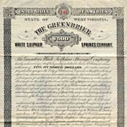 SOLD 1882 Greenbrier White Sulphur Springs Co Bond Certificate