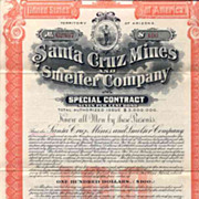 SOLD 1907 Santa Cruz Mines & Smelter Bond Certificate