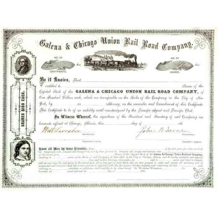 186_ Galena & Chicago Union RR Stock Certificate