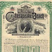 1893 Washington & Chesapeake Beach RW Bond Certificate