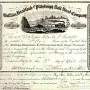1875 Buffalo Bradford & Pittsburgh RR Stock Certificate