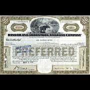 SOLD 1940s Bangor & Aroostook RR Stock Certificate