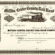 18__ Mifflin & Centre County RR Stock Certificate