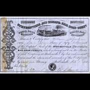 SALE 1858 Steubenville & Indiana RR Stock Certificate