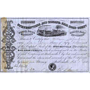 SOLD 1858 Steubenville & Indiana RR Stock Certificate