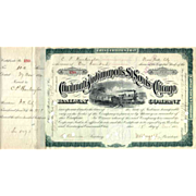 SOLD 1880 Cincinnati Indianapolis St Louis & Chicago RR Stock signed by C P Huntington