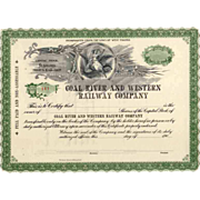 SOLD 190_ Coal River & Western RW Stock Certificate