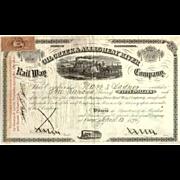 1870 Oil Creek & Allegheny River RW Stock Certificate