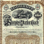 SALE 1888 Woodruff Sleeping & Parlor Coach Bond Certificate (Scripophily)