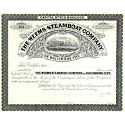 SOLD 189_ Weems Steamboat Co of Baltimore City Stock Certificate