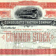 SOLD 189_ Consolidated Traction Co Stock Certificate
