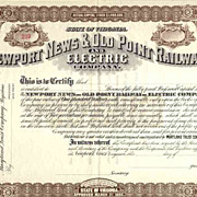 SOLD 18__ Newport News & Old Point Railway & Electric Stock Certificate