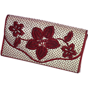 SALE Vintage Clutch ; Red  Beads  On White  Satin , C. 1960