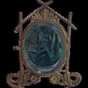 Jewel Casket;  Glass , Brass &  Silk, French , C. 1890