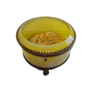 SALE Antique Jewel Casket ,  Art Glass & Brass, French, C.  1890