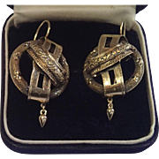 Bold Scale 14K Earrings , European C. 1870 With Buckle Motif