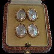 Vintage Cufflinks ; 14K , Mother Of Pearl & Natural Pearls ,  Larter & Sons