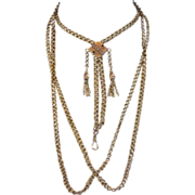 "Magnificent 14K Victorian Belcher  Chain With Slide,   67 Grams, 65"" Long"